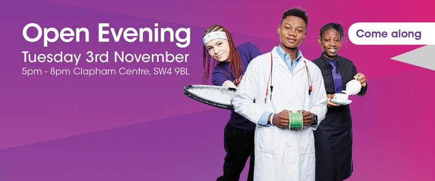 Lambeth College Open Evening Tuesday 3rd November